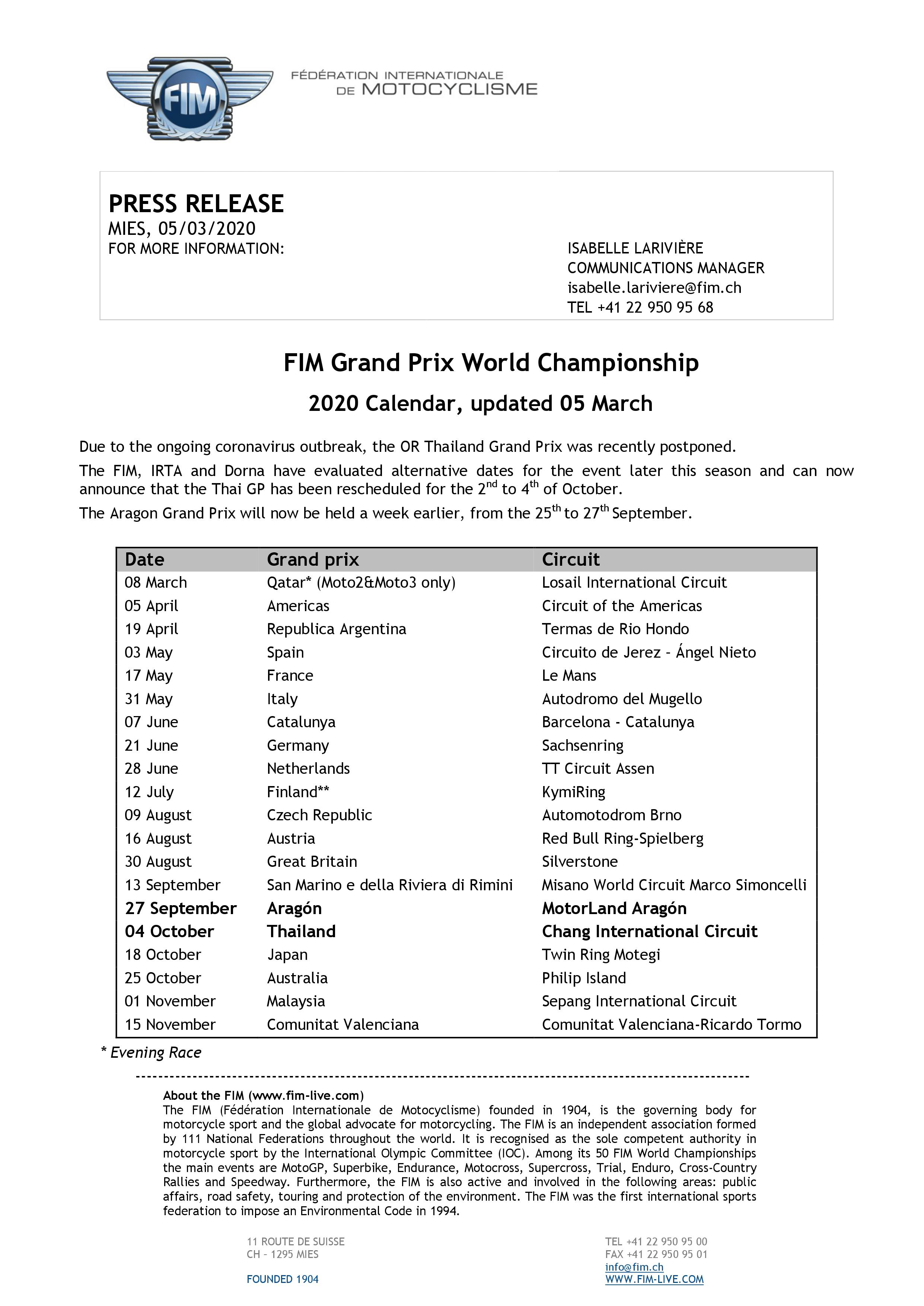 2020 Fim Motogp World Championship Calendar Updated The Garage And Mot Magazine